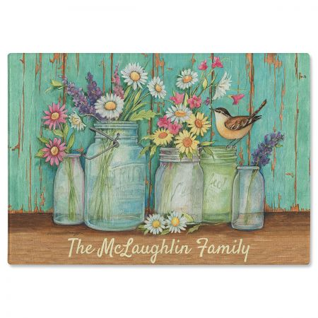 Flower Jars Custom Glass Cutting Board by Susan Winget