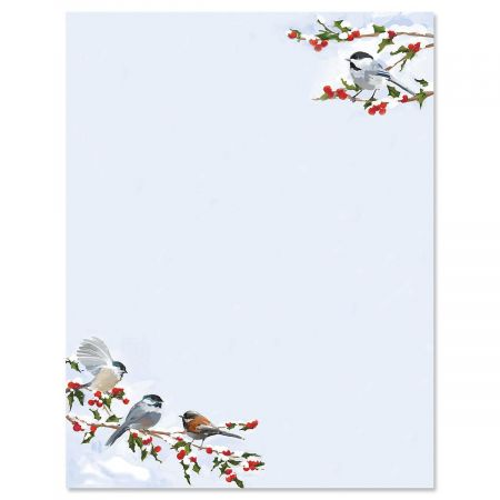 Chickadee Berry Christmas Letter Paper