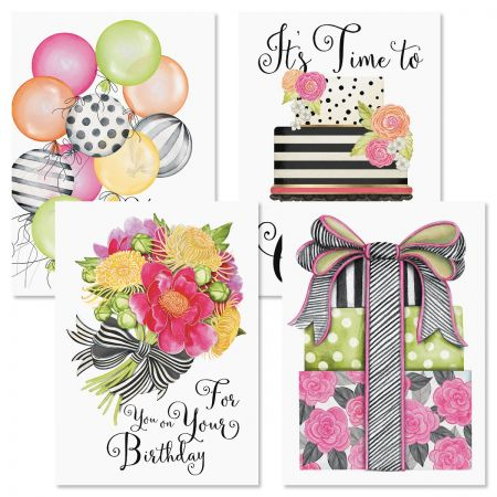 Striped Celebration Birthday Greeting Cards and Seals