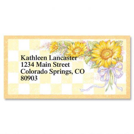 Sunflower Bouquet Border Return Address Labels