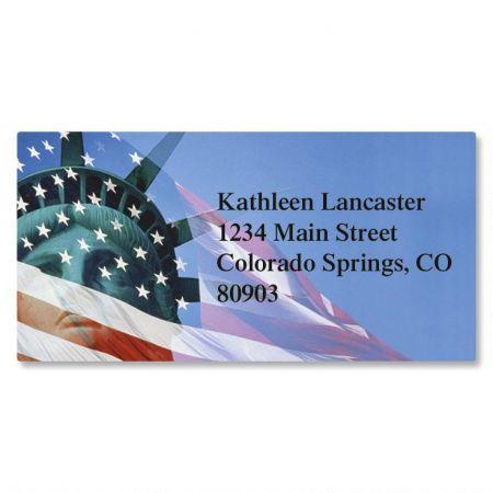Liberty Stands Patriotic Border Return Address Labels