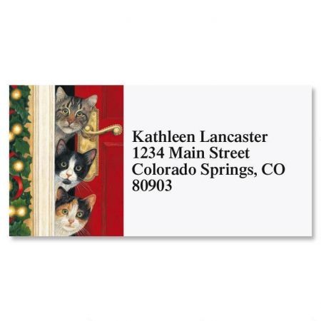 Whiskered Welcome  Border Return Address Labels