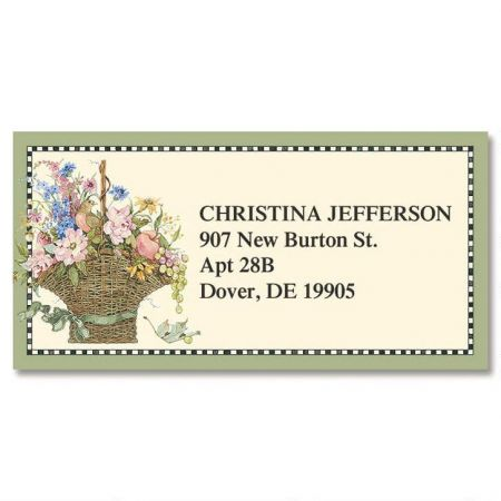 Floral Basket Border Return Address Labels