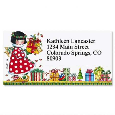 joy border christmas return address labels colorful images
