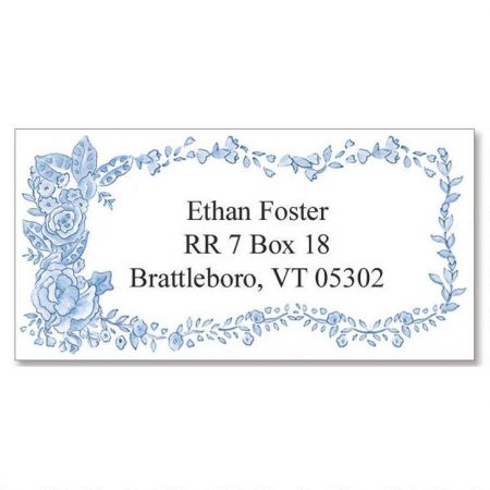 Blue Bouquet  Border Return Address Labels