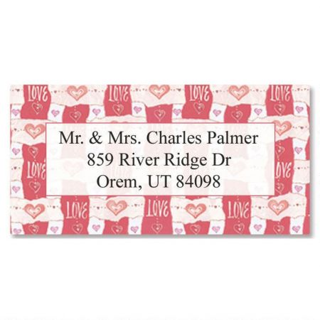 Hearts & Love  Border Return Address Labels