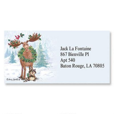 Merry ChrisMoose Border Return Address Labels