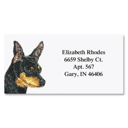 Don Eberhart Pet Portrait Border Address Label-Mini Pinsc...