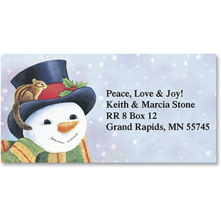 Snowman Holiday Border Return Address Labels