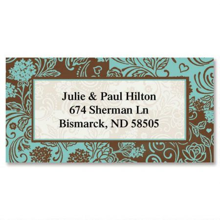 Aqua & Chocolate  Border Return Address Labels