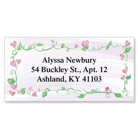 Hearts & Vines  Border Return Address Labels