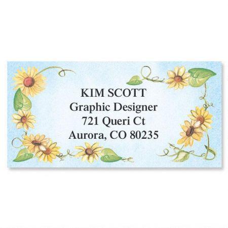 Sunflowers  Border Return Address Labels