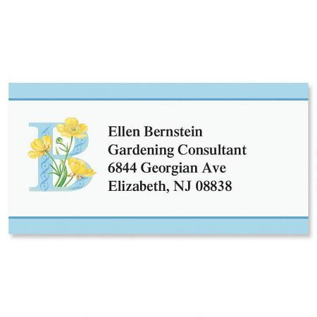 Floral Initial Border Return Address Labels