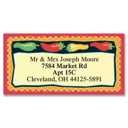 Chili Peppers Border Address Labels