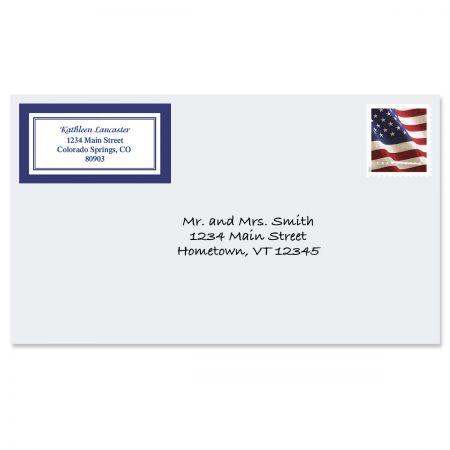 Navy Crisp Border Return Address Labels