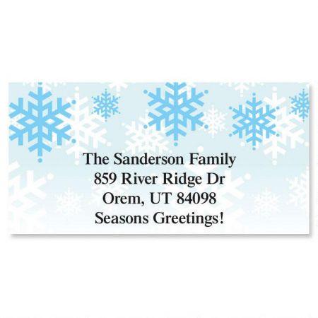 Snowflake Stripe Holiday Border Return Address Labels
