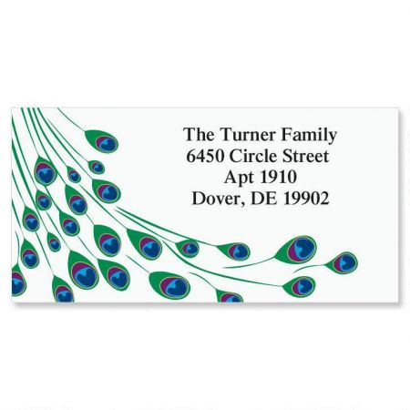 Peacock Luster  Border Return Address Labels