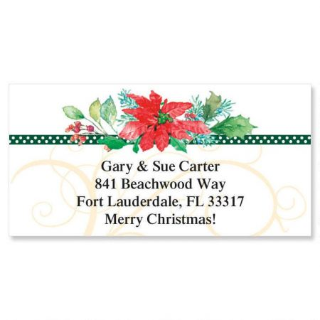 Winter Bouquet  Border Return Address Labels