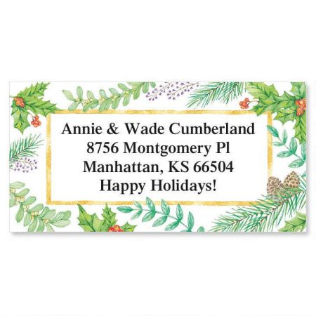 christmas greenery border return address labels colorful images