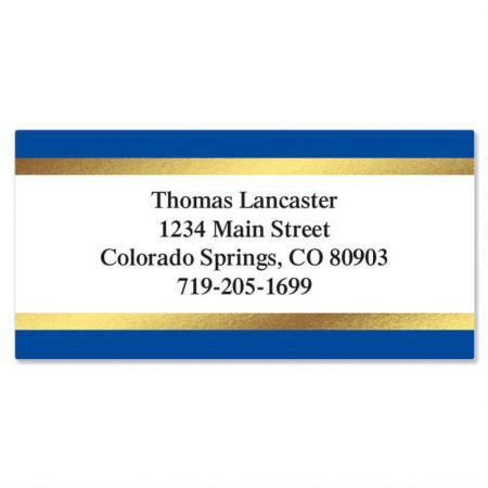Blue and Gold Foil Border Return Address Labels