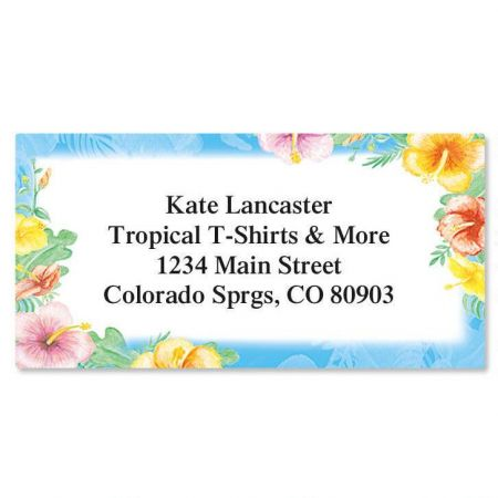 Hawaiian Floral Border Return Address Labels