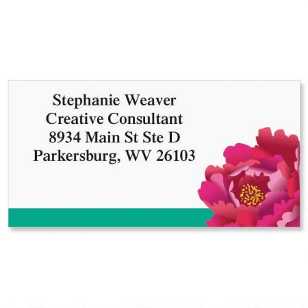 Pink and Red Peony Border Return Address Labels