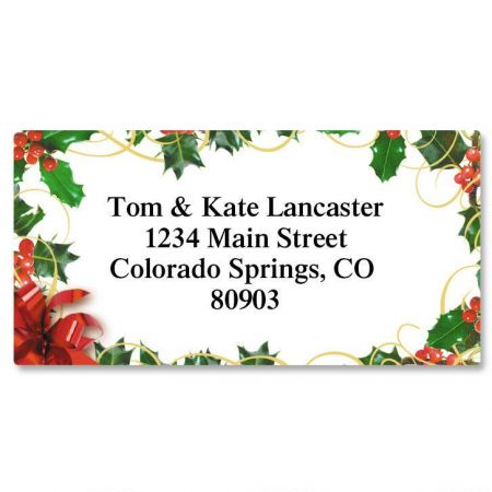 Holly Bow Christmas Border Return Address Labels