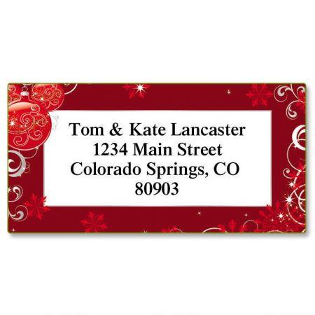 Scarlet Elegance Christmas Border Return Address Labels