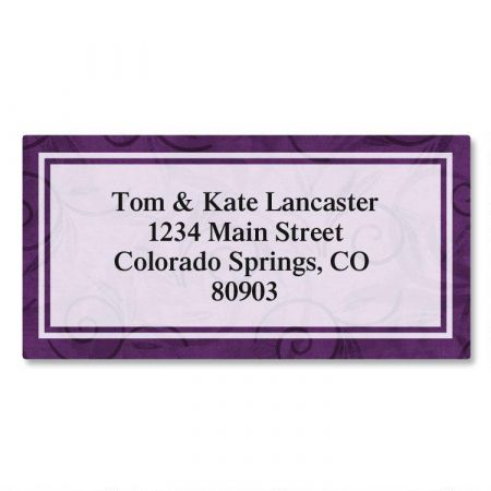 Purple Scroll Border Return Address Labels