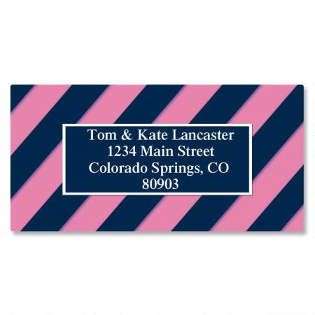 Navy and Pink Border Return Address Labels