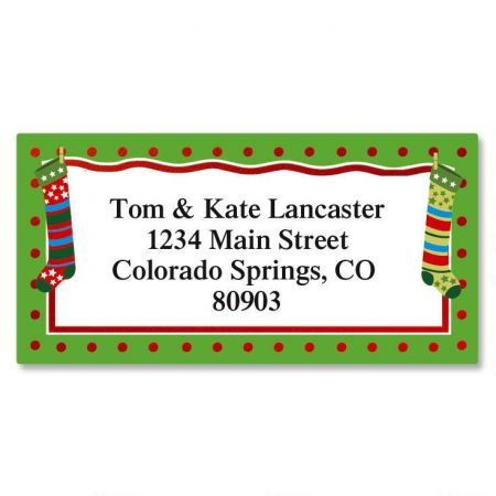 Whimsical Stockings Border Return Address Labels