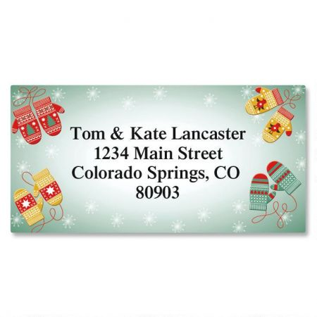 Mittens Border Return Address Labels