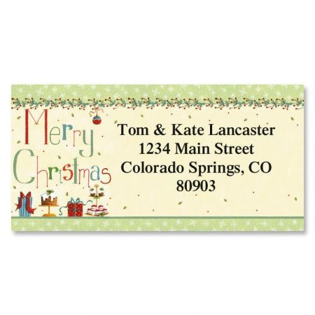 christmas treats border return address labels colorful images