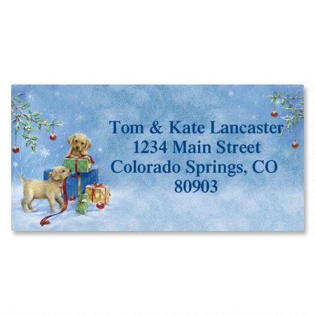 Puppy Presents Christmas Border Return Address Labels