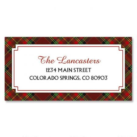 plaid border christmas return address labels colorful images