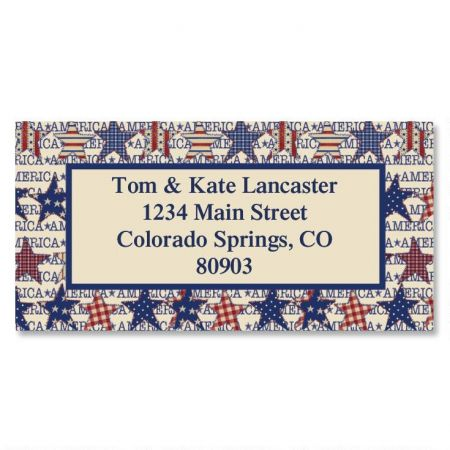 American Star Patch Border Return Address Labels