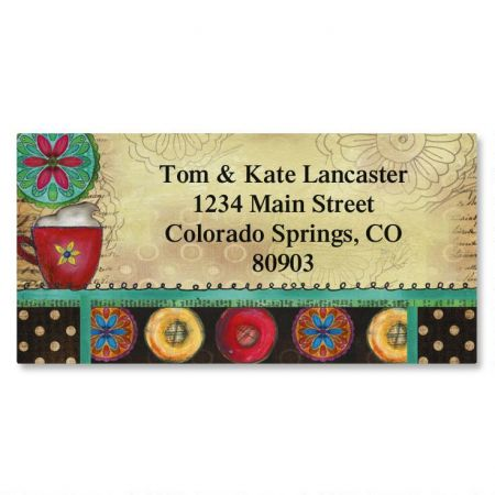 Coffee Time Border Return Address Labels