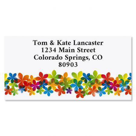 Blooming Color Border Return Address Labels