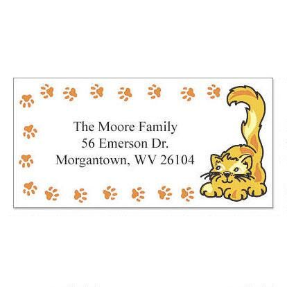 Paw Prints Cats Border Return Address Labels