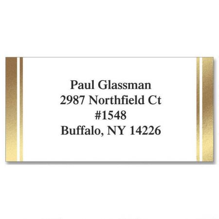White & Gold  Foil Return Address Labels