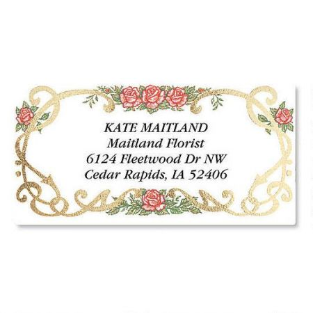 Rose Grandeur  Foil Border Address Labels
