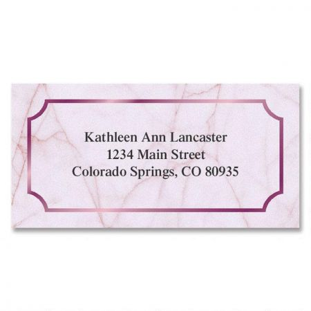 Rose Marble  Foil Border Return Address Labels