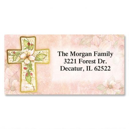 Flowers of Faith  Foil Border Return Address Labels