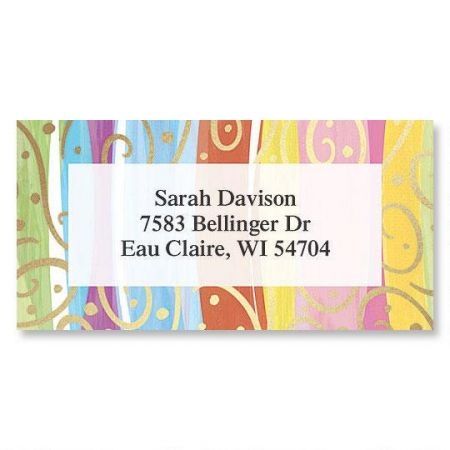 Stripes & Swirls Foil Border Return Address Labels
