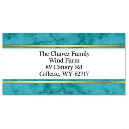 Turquoise & Gold Foil Border Address Labels