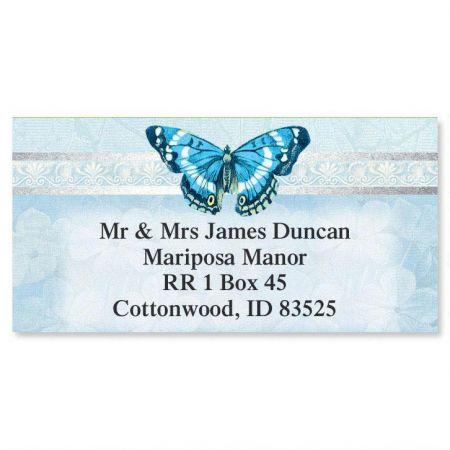 Blue Beauty Foil Border Return Address Labels