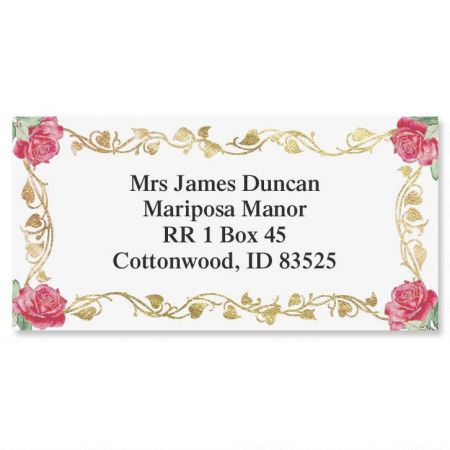 Filigree Spree  Foil Border Return Address Labels