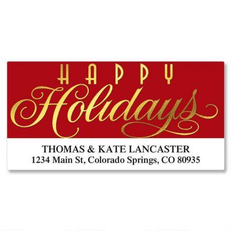 Happy Holidays Foil Deluxe Return Address Labels