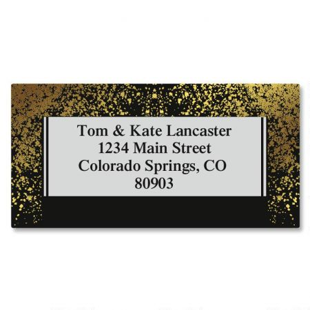 Gold Dust Foil Border Return Address Labels