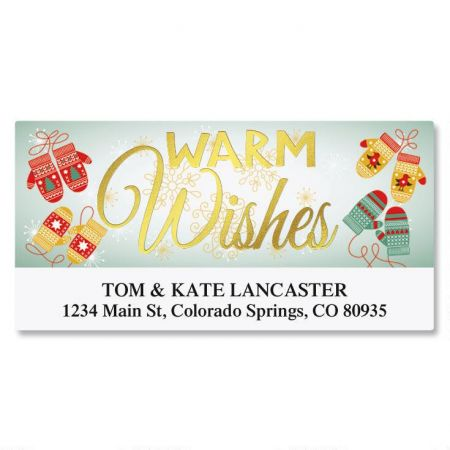 Warm Wishes Foil Deluxe Return Address Labels